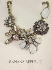 Banana Republic Moonlight Statement Grey Opal Flower Necklace NWOT 69.50
