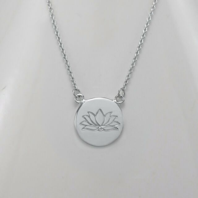 Genuine 925 Sterling Silver Geometric Circle Luck Yoga Lotus Flower Necklace