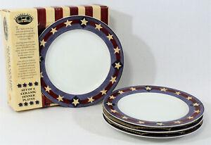 4-Sakura-Warren-Kimble-Dinner-Plates-SPIRIT-OF-THE-FLAG-Brandon-House-In-Box