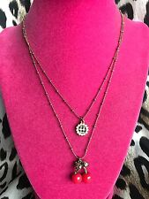 Betsey Johnson Vintage Tiny Red Cherries Cherry Checkered Daisy Necklace RARE