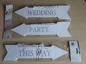 5-nozze-feste-in-questo-modo-Bianco-Argento-Freccia-Di-Direzione-Da-Appendere-Decorazione-Segno