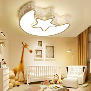 Details zu 24W Dimmbar LED Cartoon Deckenleuchte Mond Stern Kinder lampe  Kinderzimmer