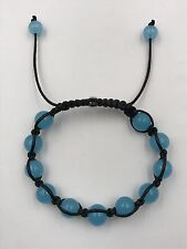 "Shamballa Beaded  Adjustable Bracelet Blue Agate 7"" - 8.5"" inches Long"