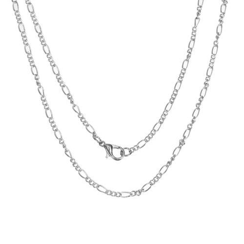 Ready Made Figaro cadenas de reemplazo de la fabricación de joyas 18 pulgadas Tono Plata 12 un