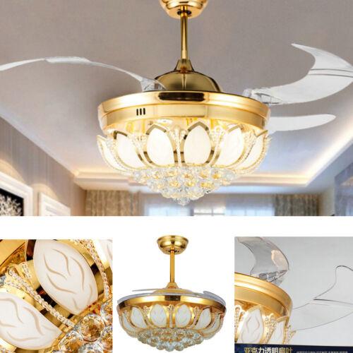 """42/"""" LED Crystal Invisible Ceiling Fan Light Modern Fan Chandelier Lamp"""