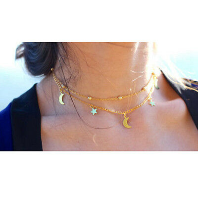 Vintage Star & Moon Charm Pendant Choker Necklace Fashion Jewelry Women Gypsy