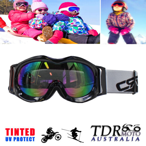 Kids MX Motocross Goggles DIRT BIKE PEEWEE ATV Quad Bike Snow Ski - Black Frame