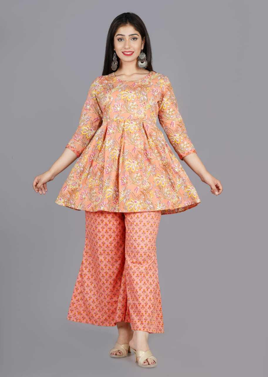 Peach Floral Print Kurta with Pants Set pack of 1