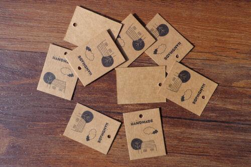 100 Pcs Kraft Paper Gift Tags Cartoon Handmade Mini Cards Hang DIY Paper Labels