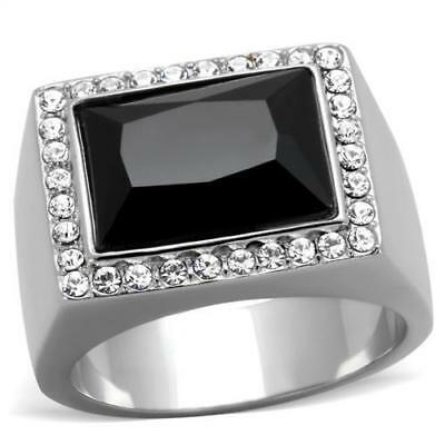 Men's Stainless Steel Synthetic Jet Black Accented Ring 8 9 10 11 12 13 TK1810
