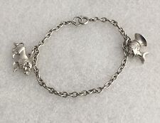 VINTAGE STERLING SILVER CHARM BRACELET WITH 2 CHARMS - LION & AFRICAN BUST HEAD
