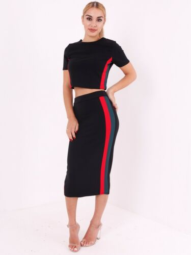 Womens Ladies Contrast Striped Crop Top and Skirt Co-Ords Two Piece Set