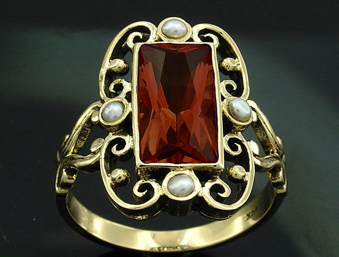 R331 Genuine 9K, 10K, 14K or 18K Solid gold Natural Garnet & Pearl Dress Ring