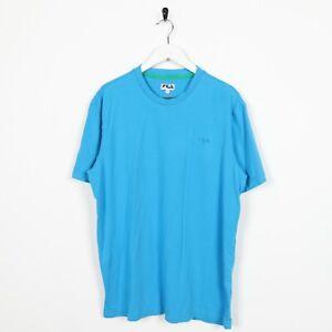 Vintage-FILA-Small-Logo-T-Shirt-Tee-Blue-Large-L