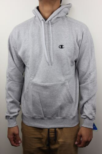Champion Mens Eco Fleece Light Gray Pull Over Hoodie Sweatshirt NWT