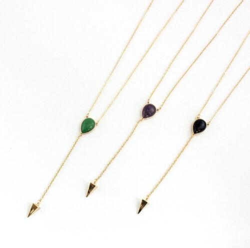 14K plaqué or Lapis Lazuli//Violet Quartz//Malais Jade lateur à travers Collier XL1044