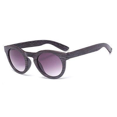 Retro Round Frame Mens Women Bamboo Wood Print Sunglasses Eye Glasses Eyewear