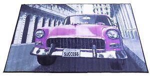 "CHEVVY CLASSIC CAR THICK TUFT PINK PURPLE RUG MAT 100 X 160CM - 39"" X 63"""