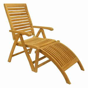 Remarkable Details About Folding Reclining Chair W Footrest Teak Dining Set Garden Outdoor Patio Ash Squirreltailoven Fun Painted Chair Ideas Images Squirreltailovenorg