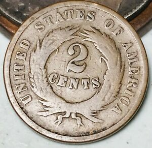 1864 US Two Cent Piece 2C Higher Grade Good Civil War Date US Copper Coin CC5270