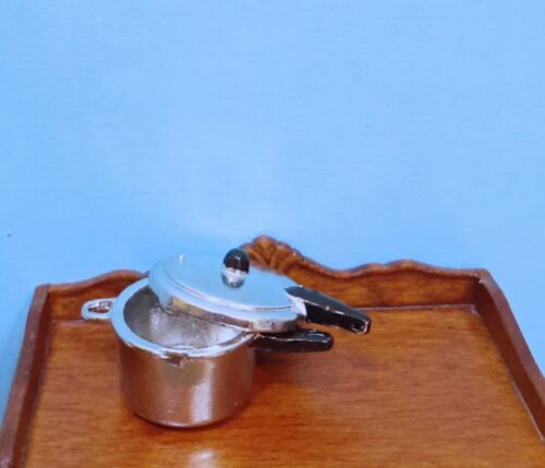 Dollhouse Miniature Silver tone Pressure Cooker with Removable Cover