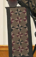 Pinwheel Quilt Pattern Quilted Table Runner 16 X 48 Rustic Reds Browns Black