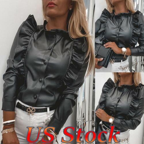 Women Punk Slim Faux Leather Ruffle Shirt Top Long Puff Sleeve Casual Blouse US