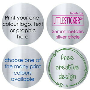 100 x 27mm Round Personalised Business Stickers Email Printed Logo Address