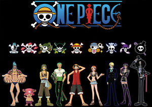 Sticker autocollant poster a4 manga one piece luffy team equipage logo drapeaux ebay - One piece equipage luffy ...