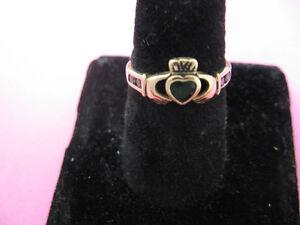 10K Gold Solvar Claddaugh Ring - Celtic-Green Stone