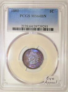 1881-Indian-Head-Cent-PCGS-MS-64-BN-Eye-Appeal
