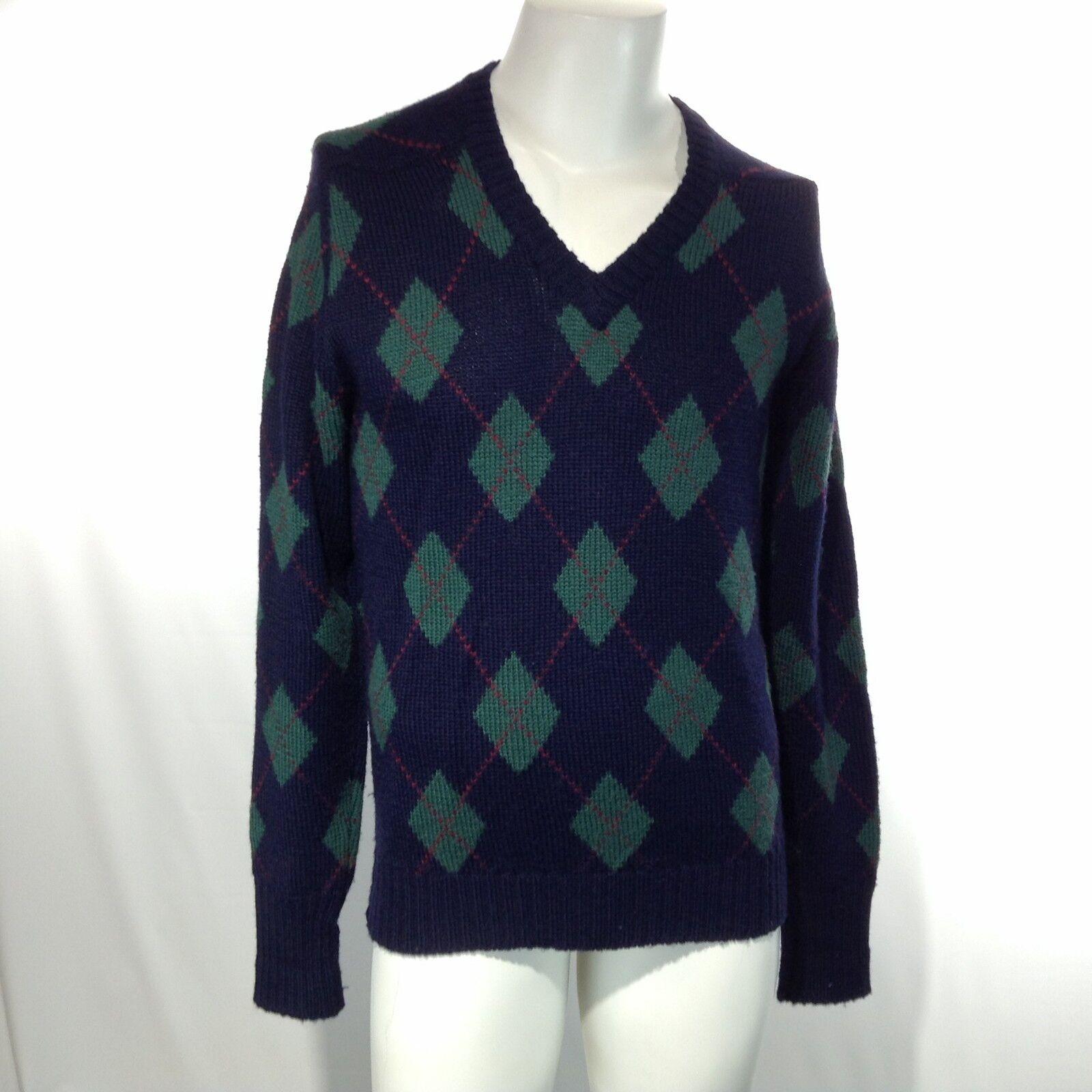 DUNHILL HONG KONG Men's WOOL Heavy Knit Sweater bluee Green Diamonds Medium