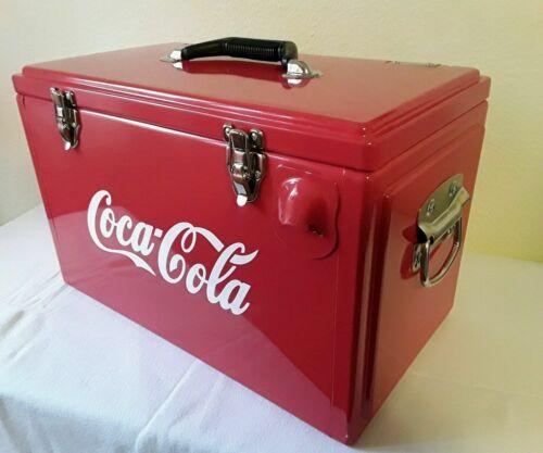 Getränke Retro Cooler Werkzeugkiste-Toolbox Rot Metall Coca Cola Design Replika