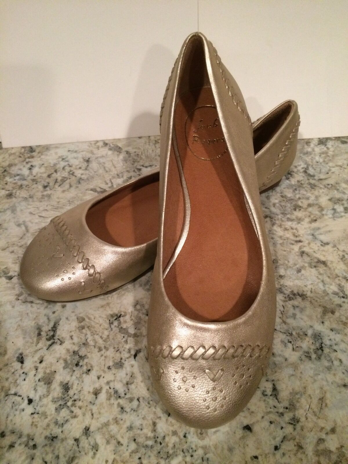 Jack Rogers Delfino Ballet Flat Schuhes Leder Round Toe Platinum Metallic 6.5 M