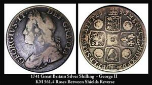 1741-Great-Britain-Silver-Shilling-George-II-KM-561-4-Roses-between-Shields-VG