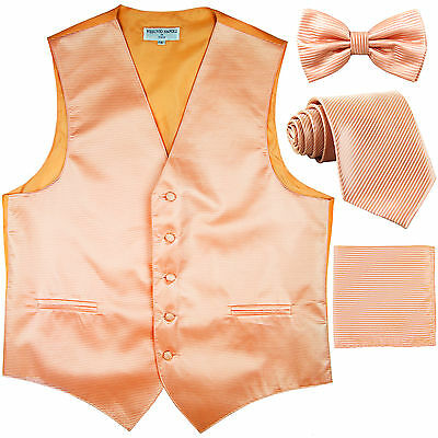New men formal vest waistcoat_bowtie, neck tie & hankie horizontal stripes peach