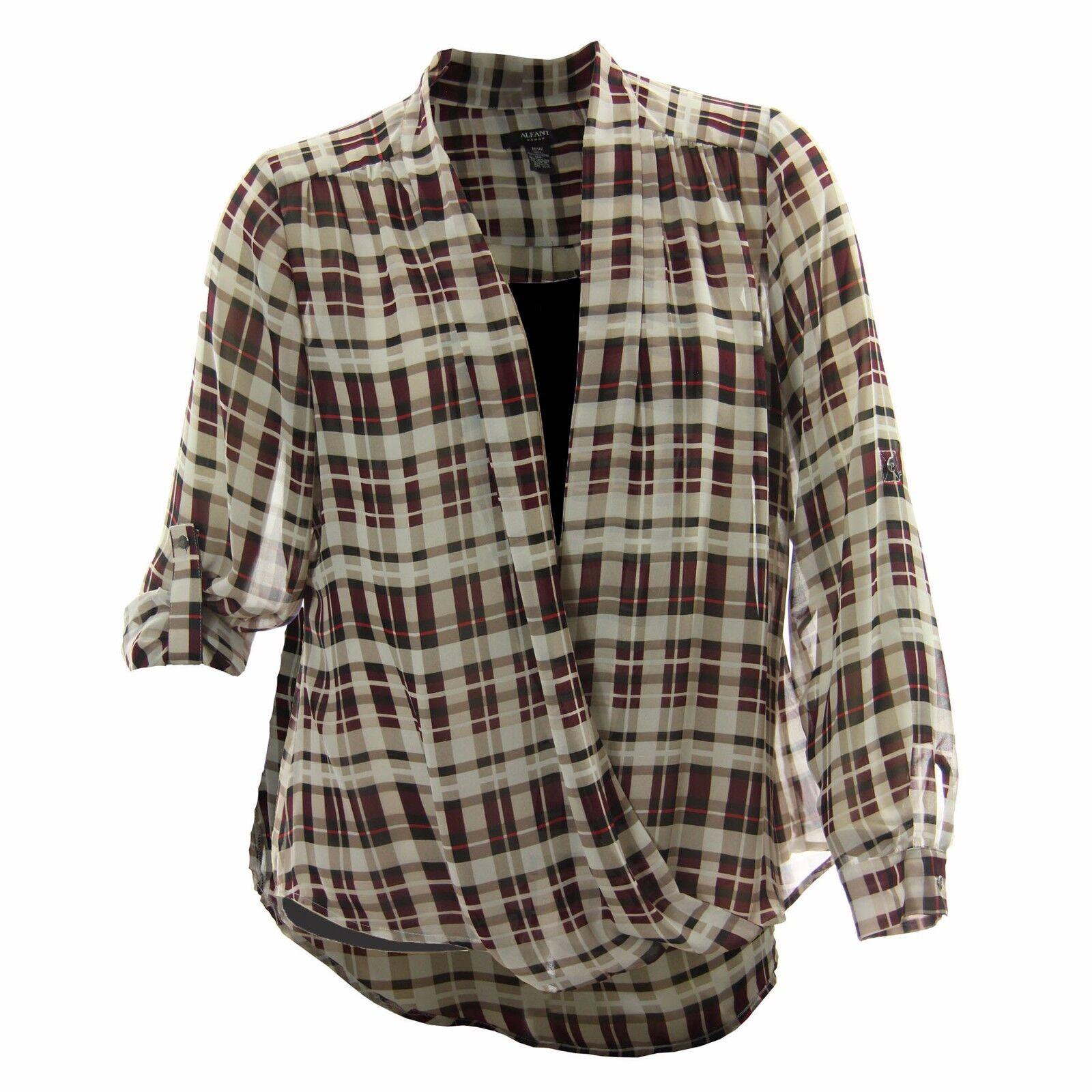 Alfani Multi color Plaid Print Long Sleeve Cross Front Blouse & Cami NWT F S