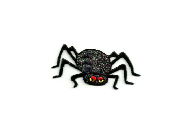 Halloween Black Shimmery Spider Red Eyes Iron on Applique//Embroidered Patch