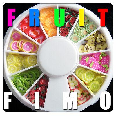 New 120 PCS 3D Fruit Fimo Nail Art Tips UV Acrylic Decoration Wheel