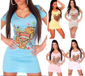 Miniabito-Vestitino-Donna-Long-T-Shirt-Vestito-KOUCLA-B053-M-L-L-XL