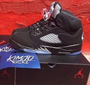 Air-Jordan-5-Retro-OG-034-Metallic-Black-034-Men-039-s-amp-GS-Youth-845035-003-845036