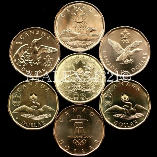"""CANADA THE COMPLETE /""""LUCKY LOONIE/"""" 1 DOLLAR SET 2004 TO 2016 UNC 7 COINS 1$"""
