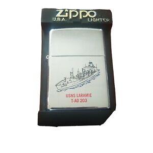 Zippo-Rare-Vintage-US-Laremie-Fregatte-1998-Usa-Ship-Boat-Army-Naval-Navy-guard