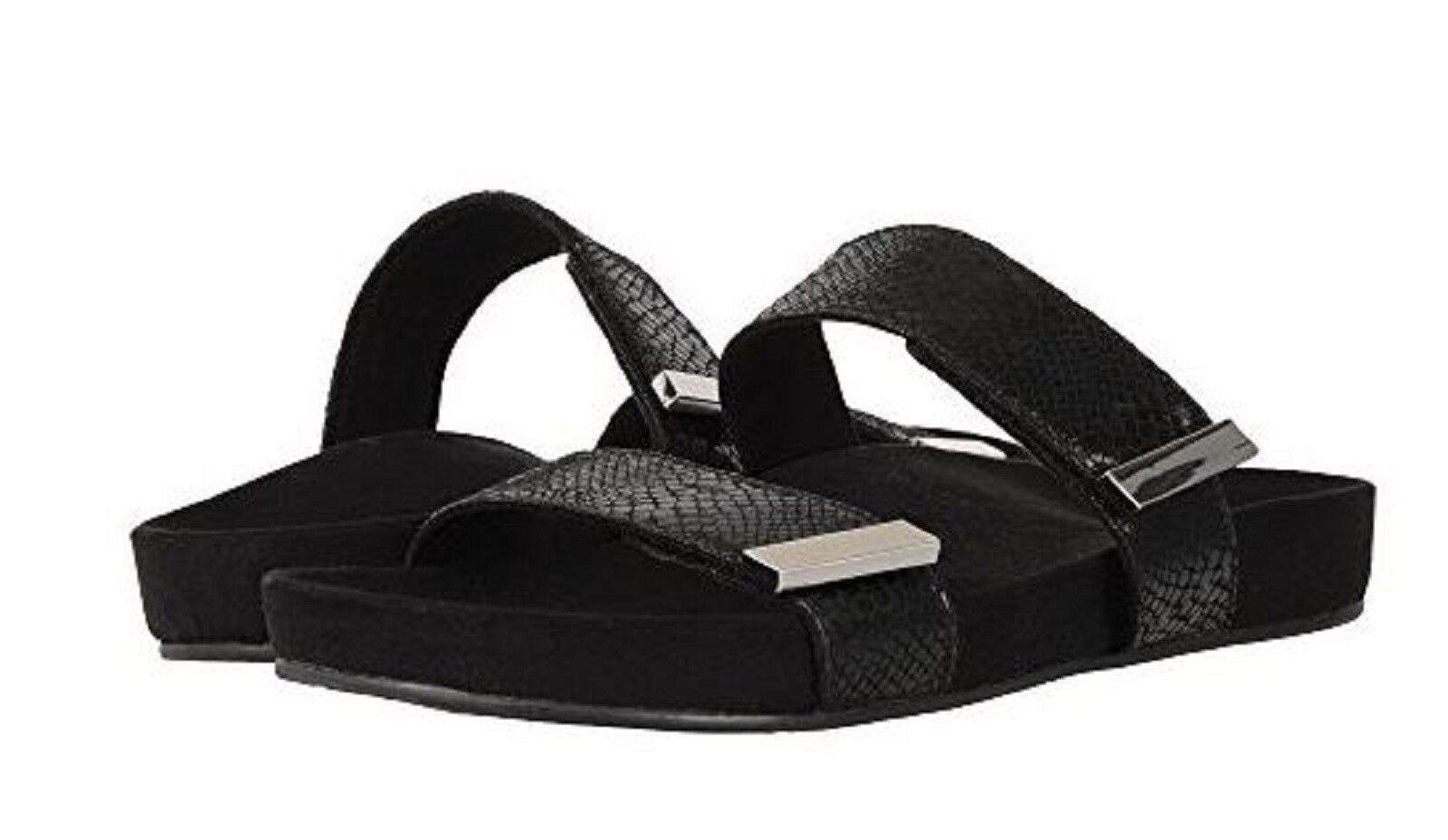 Vionic Orthaheel GRACE JURA Premium Leder Slide Sandales BLACK SNAKE 6.5 M NIB