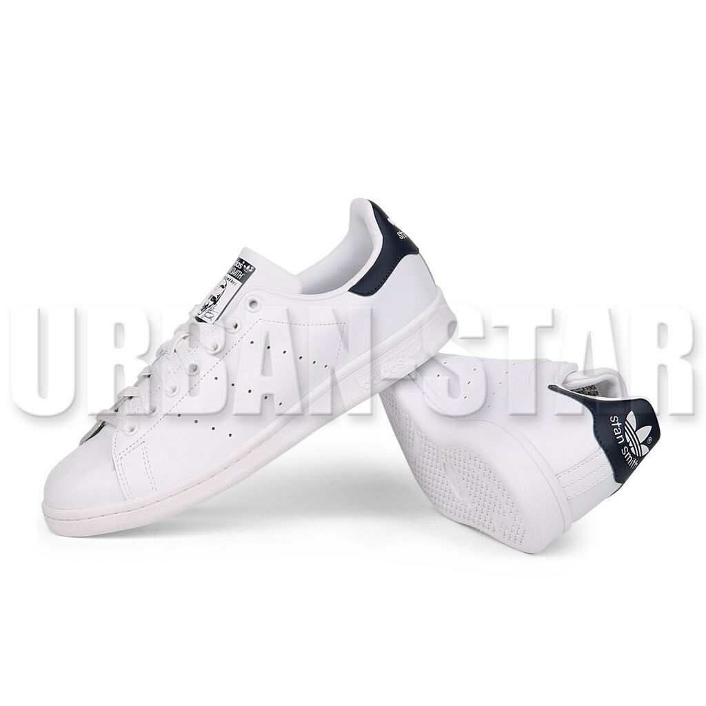 Adidas Homme Blanc Originals STAN SMITH Baskets Cuir Noir Blanc Homme Chaussures UK fe6ee0