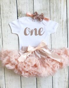 Peachy Peach Rose Gold Baby Girls First 1St Birthday One Tutu Vest Cake Funny Birthday Cards Online Sheoxdamsfinfo