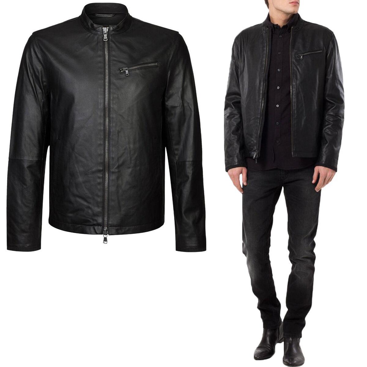 Abrigo de chaqueta de cuero para hombre DE Herren Lederjacke Biker Homme Veste En cuir R65