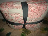 Target Coral Floral Neutral Full Queen Quilt 88 X 92 100% Cotton