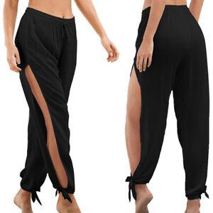 Mujer Pantalones Verano Pernera Ancha Moda Cintura Elastica Holgado Ropa Ebay