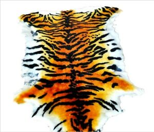 Details about Luxury Tiger Print Skin Rug Blanket Genuine Australian  Sheepskin Wool Rug Carpet